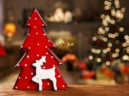 christmas red tree decoration. Christmas Blurry.