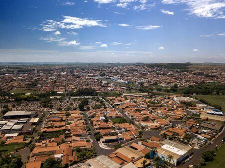 Aerial landscape city (Sao joaquin da barra - Sao Paulo - Brazil). October, 2018. Standard-Bild