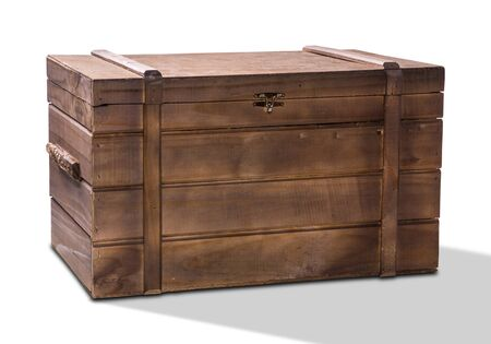 Old wood box isolated on white background.