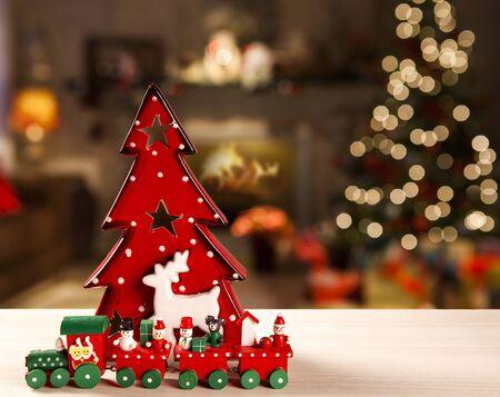 christmas red tree decoration. Christmas Blurry Standard-Bild