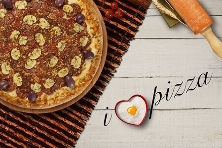 table, top view. I love pizza written in english. Copy space