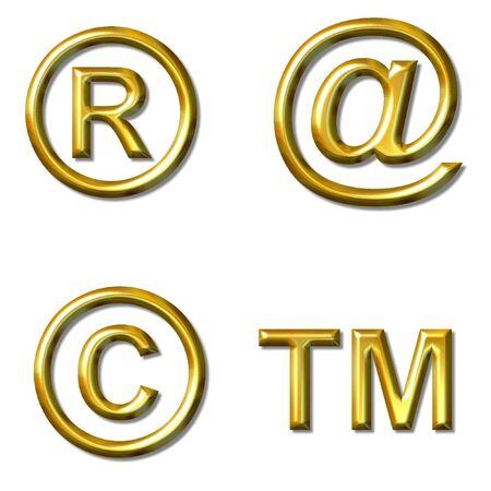 symbols copyright, TM, @, registered trade mark - 4 in 1
