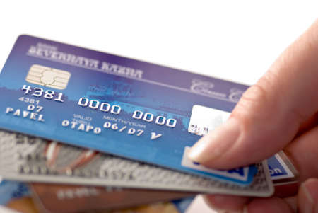 Close-up a credit cards. Very shallow depth of focus 스톡 콘텐츠