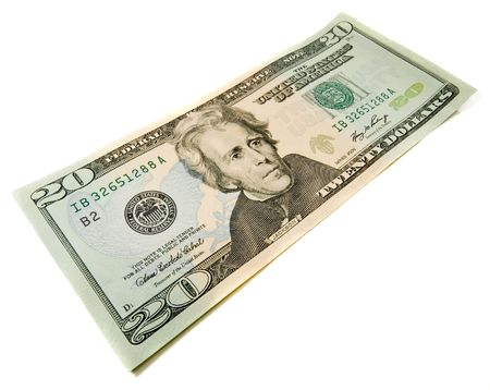 20 dollasr bill. Wide angle view. Isolated over white. Business concept