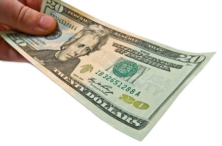Money in male hand close up. Wide angle lens used to get shot Stock Photo - 2673086
