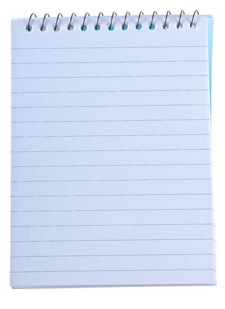 writing note pad with spiral binding isolated over white