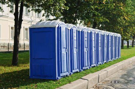 transportable public street toilet 스톡 콘텐츠