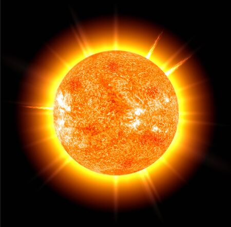 The sun on a black background Imagens
