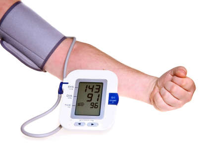 physical pressure: Checking the blood pressure isolated over white Stock Photo