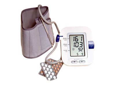 Blood Pressure tester and pils photo