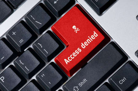 Personal computer keyboard with red key Access denied Stock Photo - 3666866