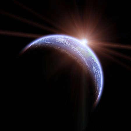Aarde gezien vanuit de ruimte met zonsopgang