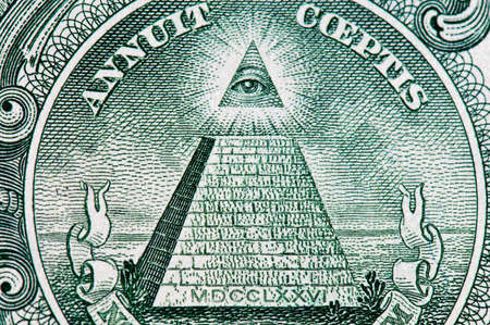 freemasonry: dollar pyramid macro Stock Photo