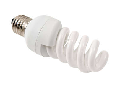 Twisted compact fluorescent lamp wpath isolated on white background photo