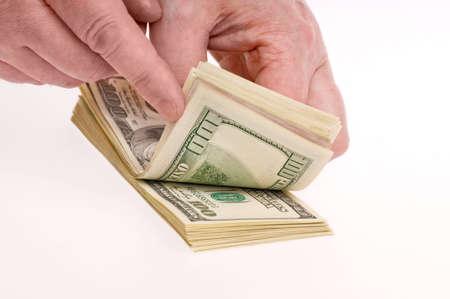Hands counting money on white background Stock Photo - 4043712