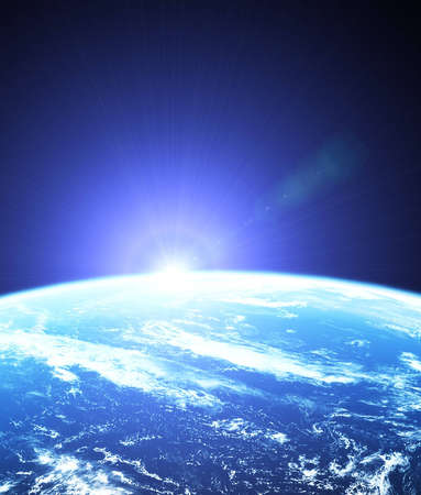 Earth as seen from outer space with sunrise Stock Photo