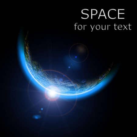 ライジングサン イラスト地球。コピー テキストのスペース