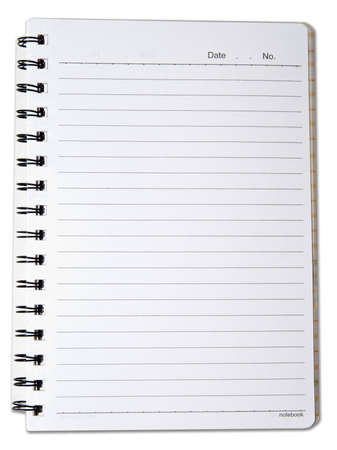 spiral lined notebook isolated on white photo