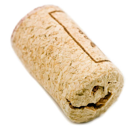alimentation: wine cork on white background