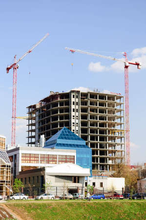 construction crane and building over blue sky Stock Photo - 4296833