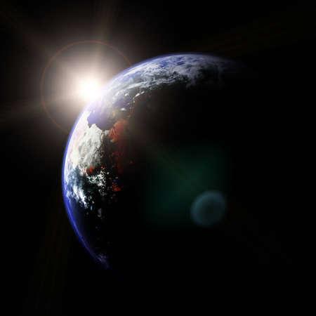 Space landscape illustration - Earth and Sun Stock Illustration - 4511968