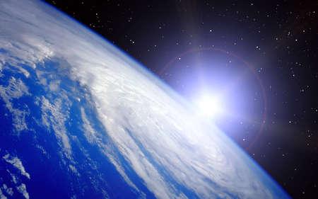 Aarde met Rising Sun illustratie op Heelal achtergrond Stockfoto