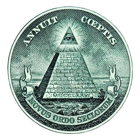マクロ白い背景にドルのピラミッド 写真素材