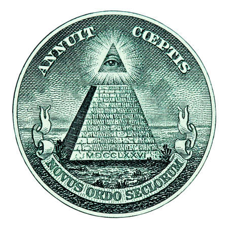 rosicrucian: Dollar pyramid on white background macro Stock Photo