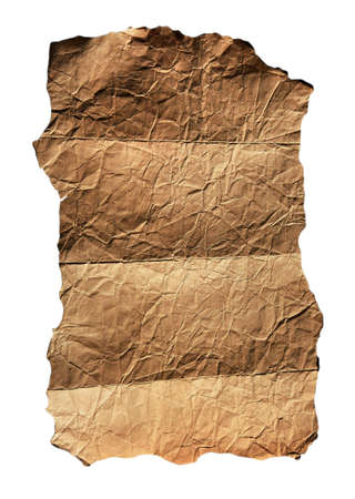 vintage parchement: Old  folded parchment for background isolated on white