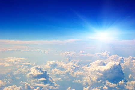 zonsopkomst lucht uitzicht vanuit het vliegtuig Stockfoto
