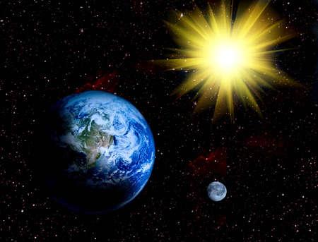 Space landschap - Aarde en de maan in het heelal illustraion