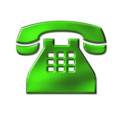 phone icon: 3D green phone icon sign on white Stock Photo