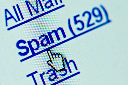 unsolicited: Spam e-mail folder macro. Copy space for your text Stock Photo