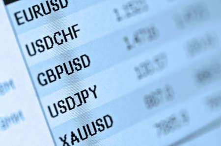 Financiën markt koersen op de monitor Stockfoto
