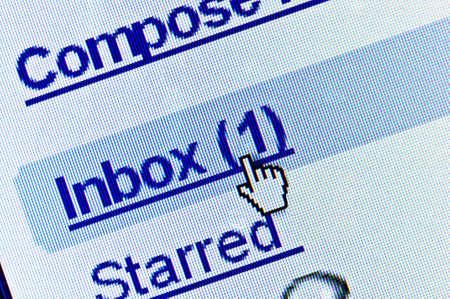 メールボックスに新しいメッセージ。マクロ画面表示 写真素材