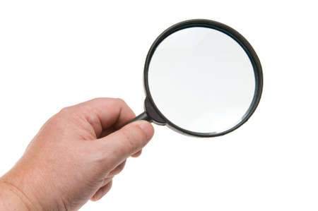 investigators: magnifying glass in hand isolated on white