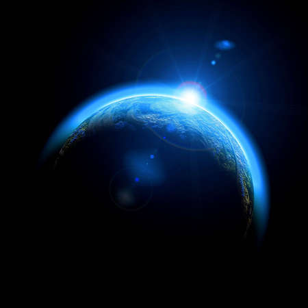 Soleil levant sur la Terre illustration. Copie d'espace pour votre texte Banque d'images - 4990942