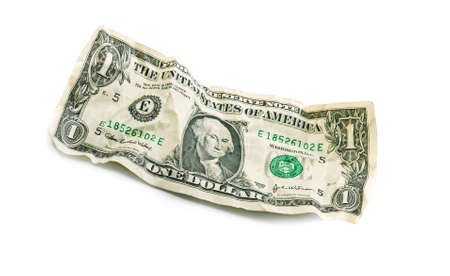 crumple: jagged crumple wrinkled dollar isolated on white
