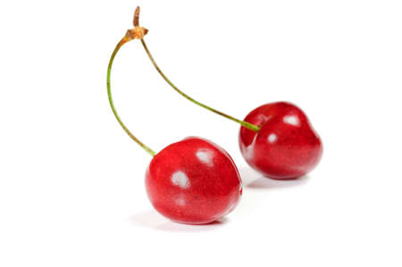 duet: Two cherry isolated on white