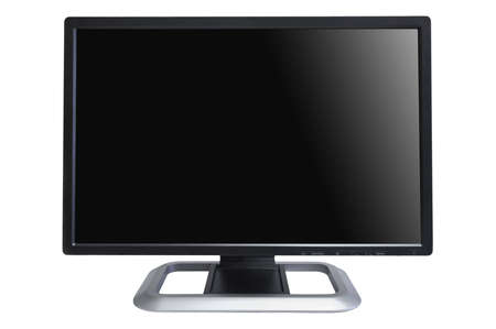 frontal view of computer lcd monitor isolated on white photo