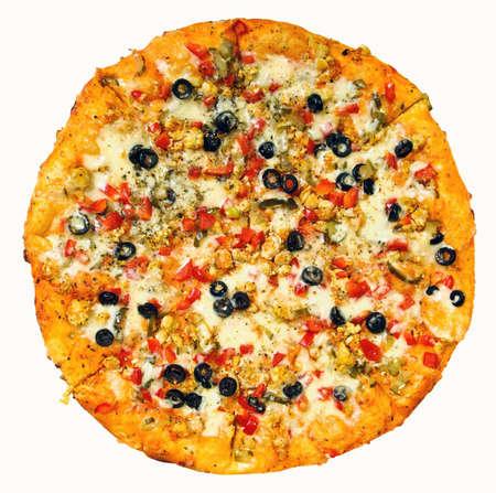 round pizza on white background photo
