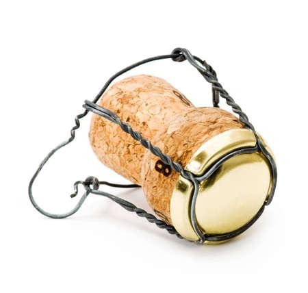 champagne wine cork isolated on white Archivio Fotografico