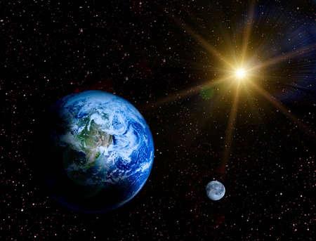 Space landschap - Aarde en de maan in het universum van illustraion