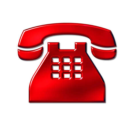 3D red phone icon sign on white