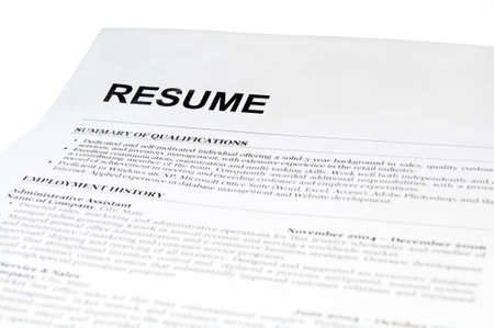 resume form on white. isolated Standard-Bild