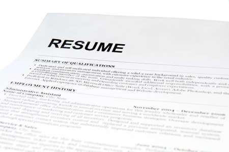 resume form on white. isolated Archivio Fotografico