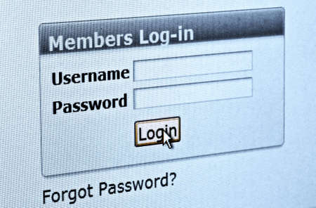 Computer screen with login and password form photo