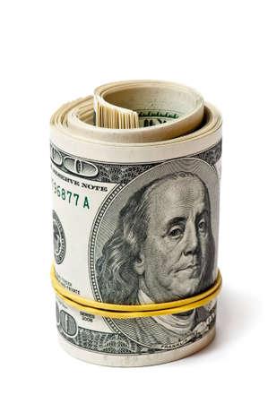 geld roll geïsoleerd op witte achtergrond Stockfoto