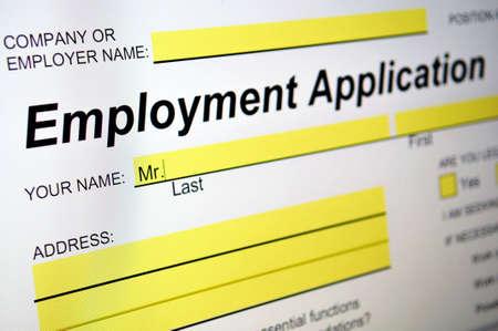 Employment Application on computer screen