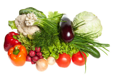 Fresh Vegetables and other foodstuffs. Studio shot.